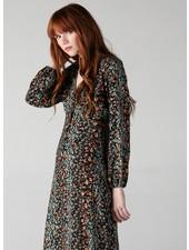 Angie Long Sleeve V Neck 6 Button Dress (F4C27)