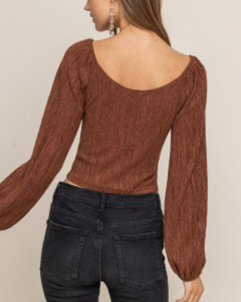 Lush Plush Button Crop Top (T15085)