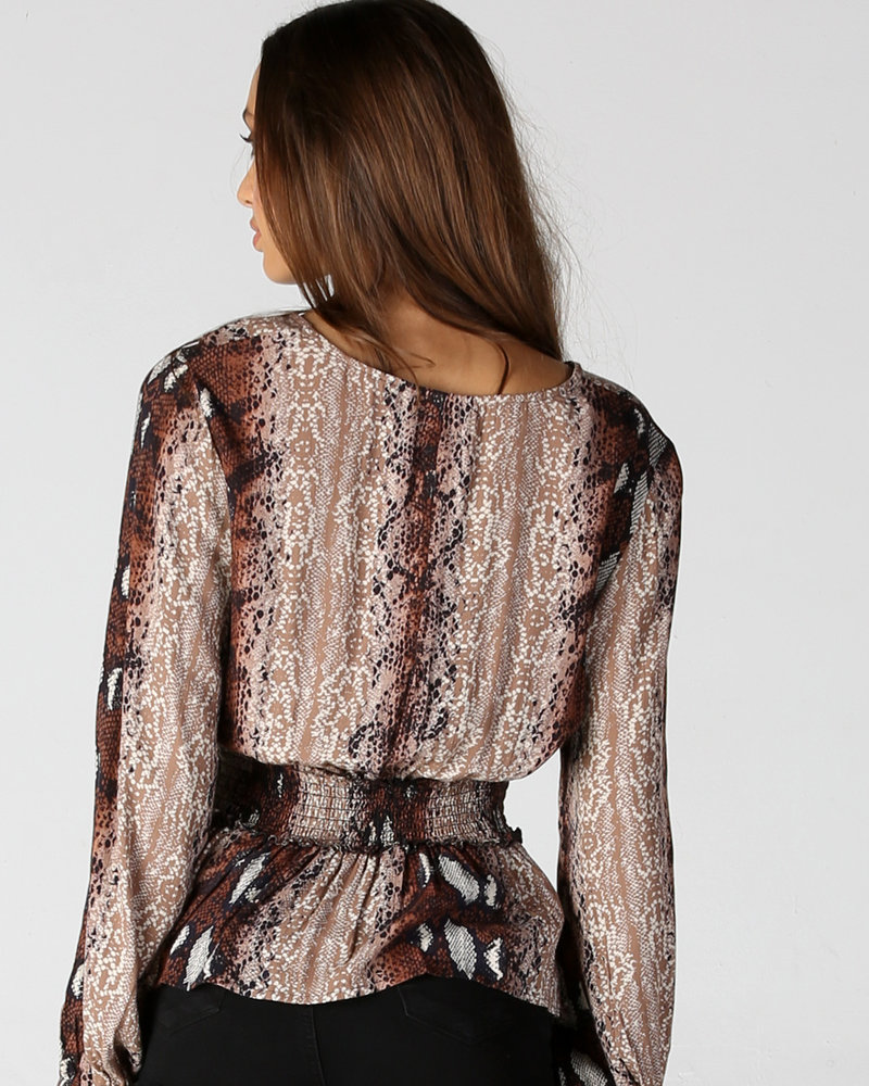 Angie Long Sleeve Top With Smocking At Waist (B2X02)