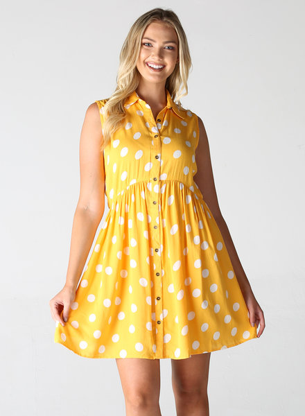 Angie Polka Dot Shirt Dress (F4C61)