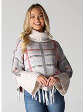 Angie Cowl Neck Fringe Hem Wide Sleeve Crop Sweater (XHF85)