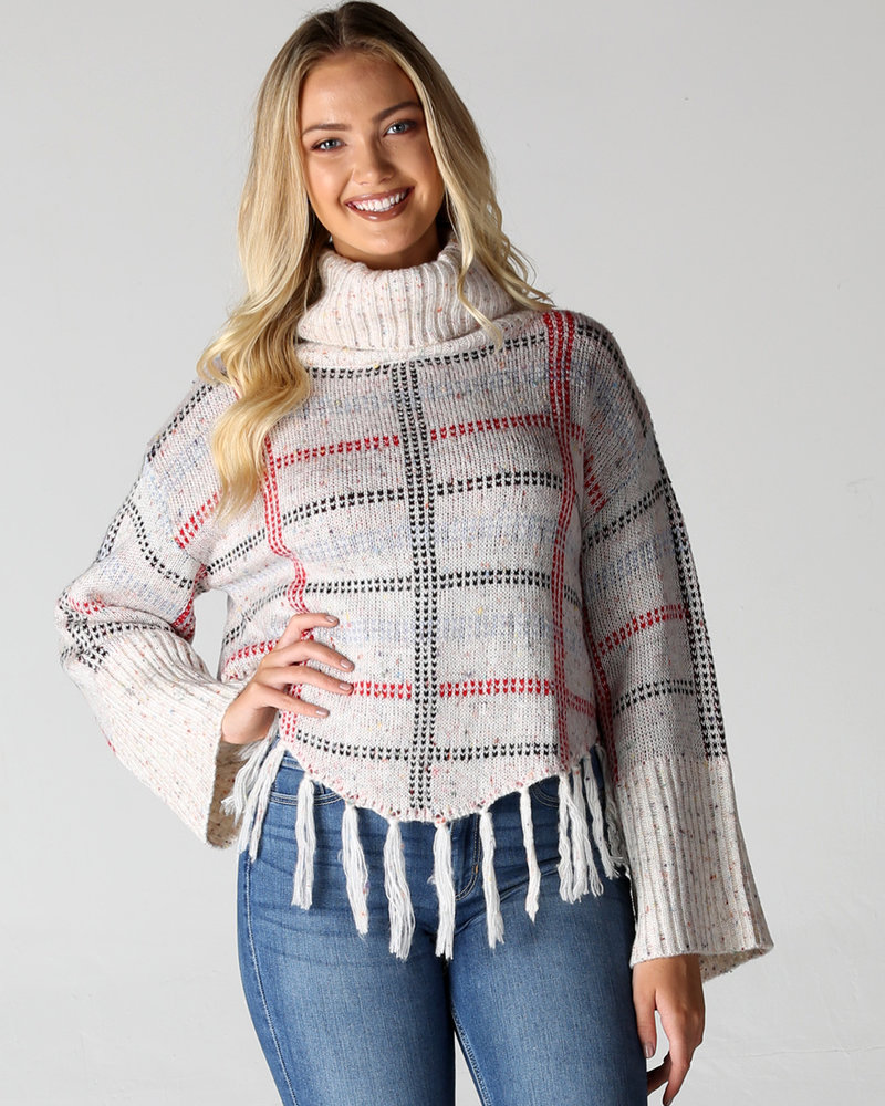 Angie Cowl Neck Fringe Hem Wide Sleeve Crop Sweater (XHF85)
