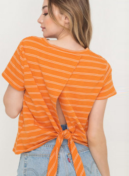Lush Cotton Wide Stripe Tie Back Top (T14668B)