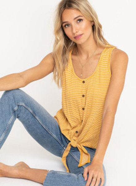 LUSH Stripe Button Down Front Tie Tank Top (T14895)