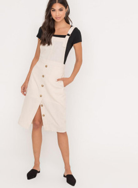 Lush Button Pinafore Overall Dress (LD42733-CI)