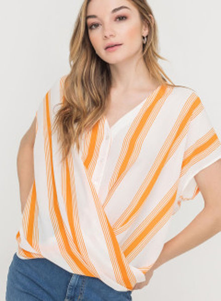 Lush Draped Hem Buttoned Blouse (T13872BP-I)