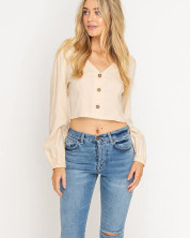 Lush Button Front Long Sleeve Cropped Blouse (LT13932-CI)