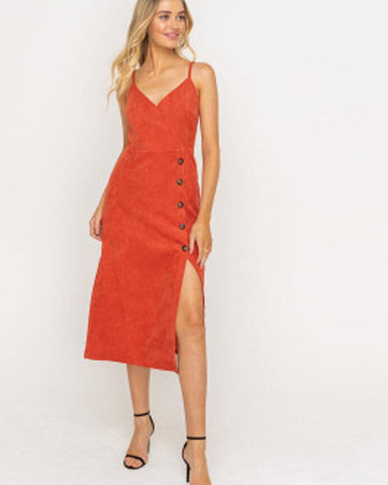 Lush Side Buttoned Midi Dress (LD42781-CI)