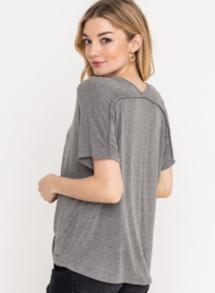LUSH V-Neck Knot Top (T14944)