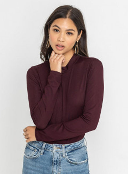 LUSH Ribbed Long Sleeve Mock Neck Bodysuit (T15013)