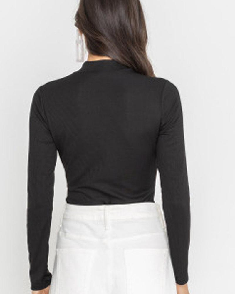 Ribbed Long Sleeve Mock Neck Bodysuit (T15013)
