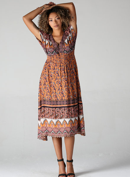 Angie Printed V Neck Maxi Dress (B4BB8)