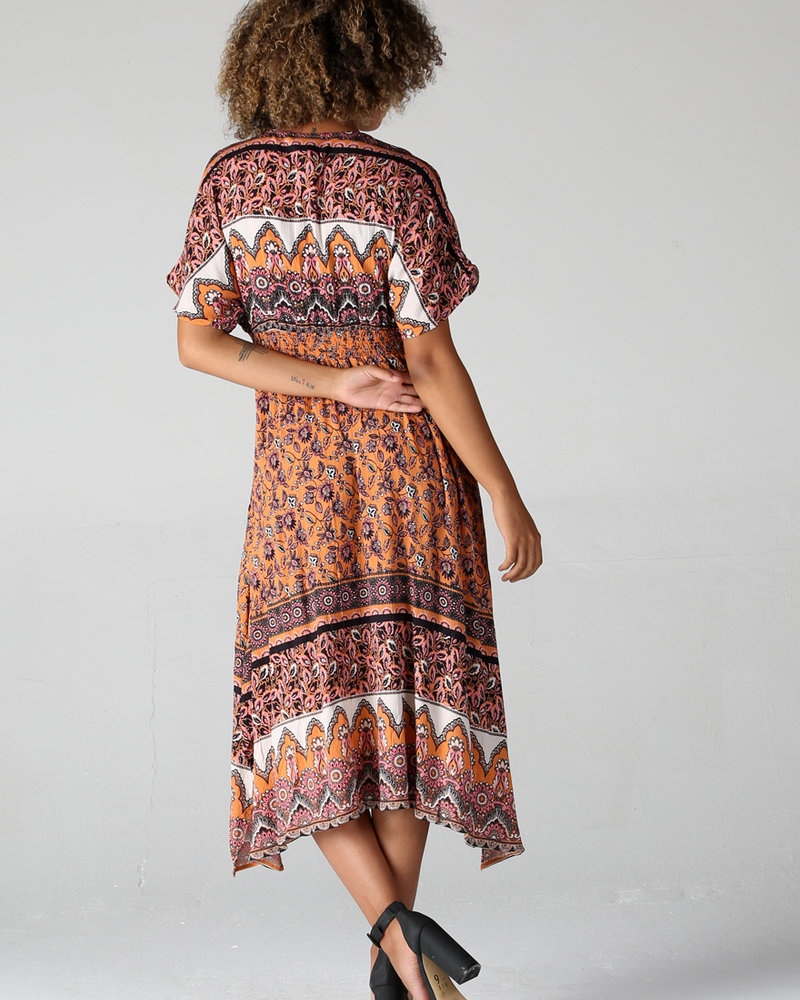 Angie Printed V Neck Maxi Dress (B4BB8)