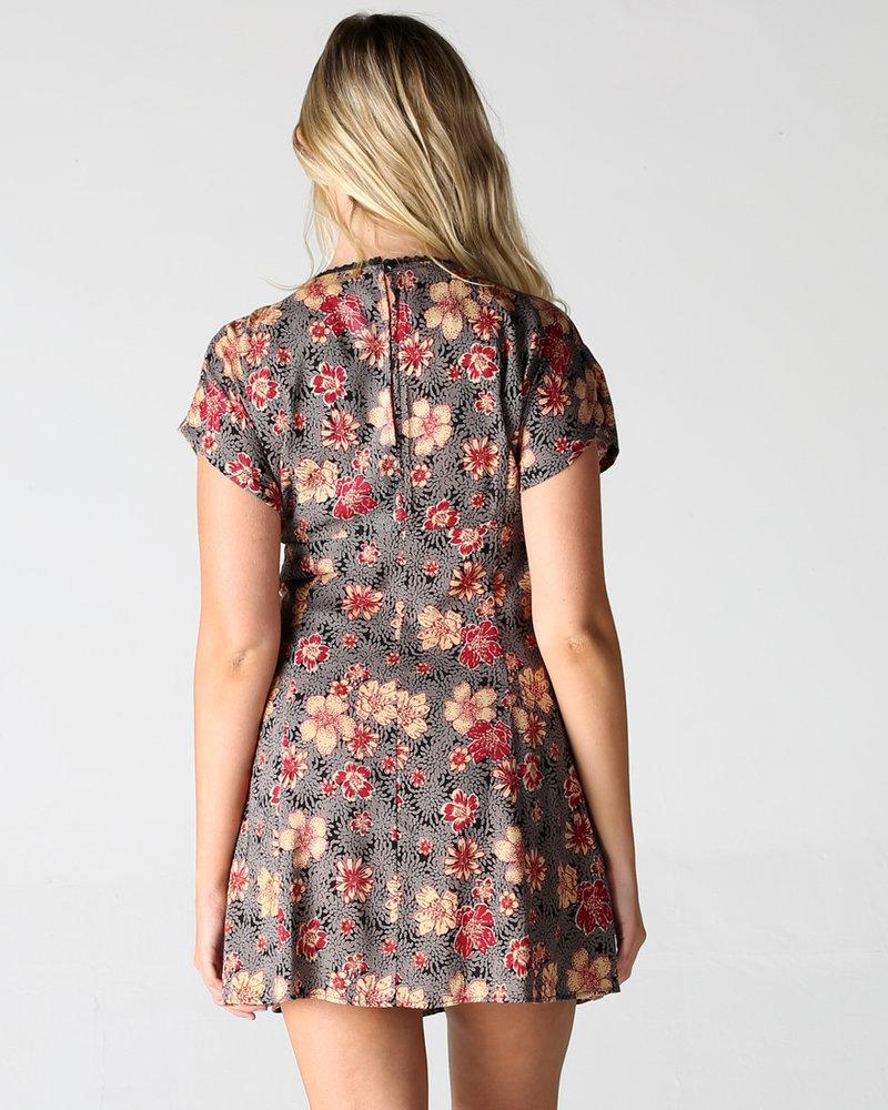 Kimono Sleeve Button-up Dress (F4B76)
