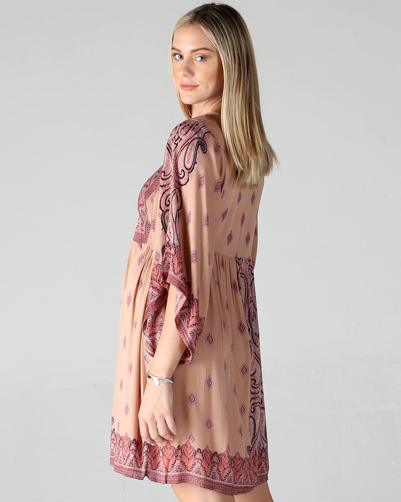 Angie Border Printer Kimono Dress (F4B84)
