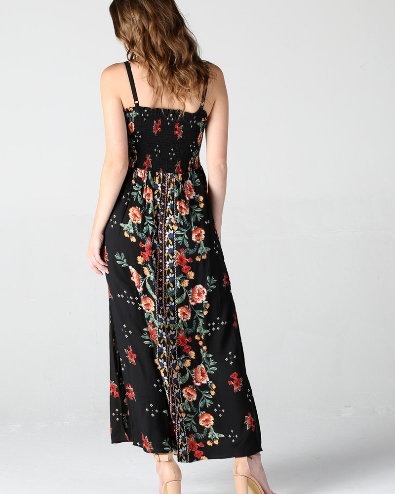 Angie Smocked Bust Button Front Maxi Dress (F4C23)