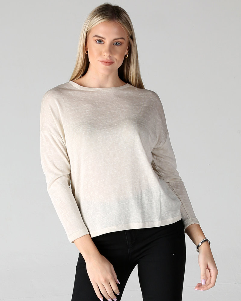 Long Sleeve Side-Button Knit Top (X2AA3)