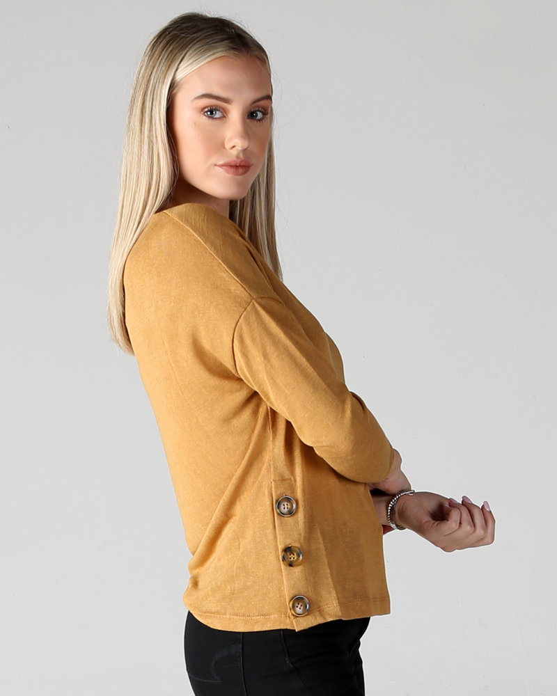 Angie Long Sleeve Side-Button Knit Top (X2AA3)