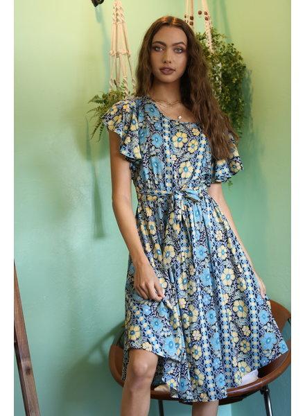 Angie Flutter Sleeve Open Back Dress (B4TT3)