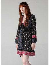 Angie Tie Front Long Sleeve Dress (F4C54)