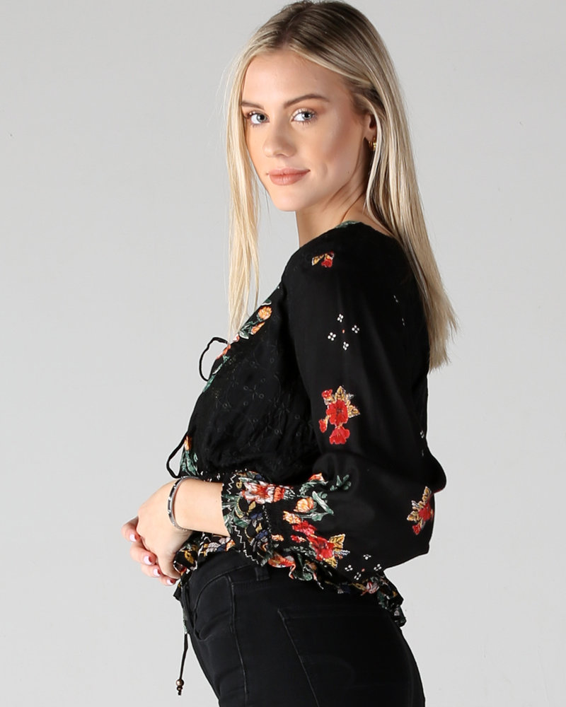 Angie Long Sleeve Top With Deep V Lace Up (F2284)