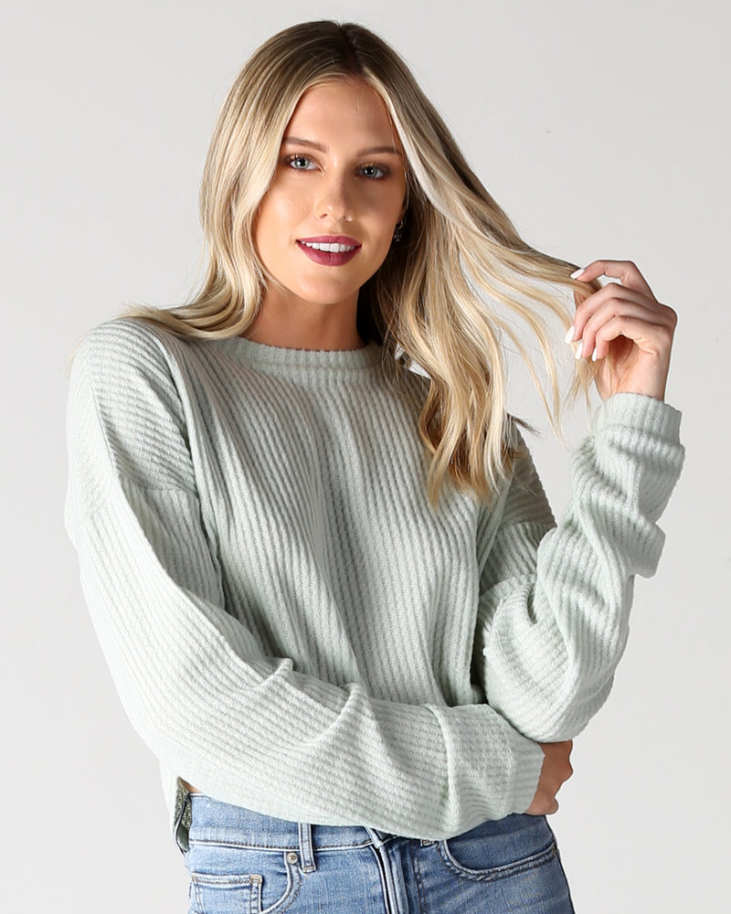Angie Brushed Thermal Long Sleeve Crop Top (X2AA6)