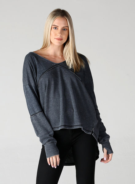 Angie Mixed Media Thermal With Burnout V Neck Tunic (X2N84)