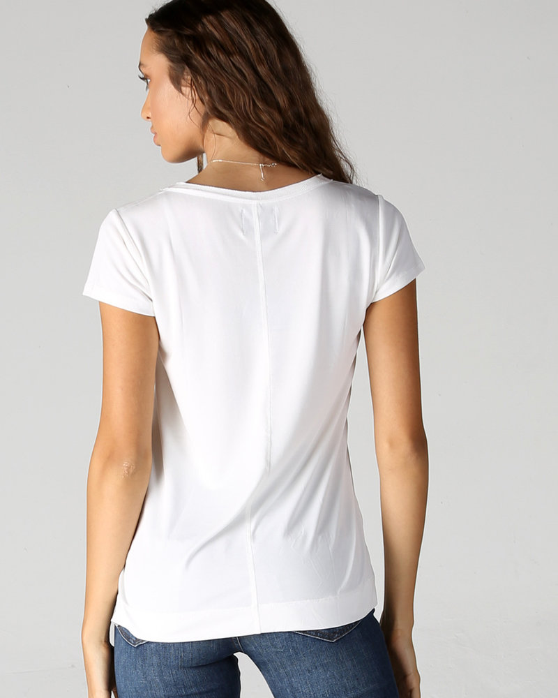 Angie V Neck Raw Edge Pocket Tee (X2P73)