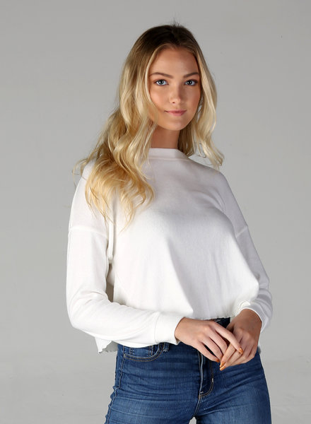 Angie Brushed Rib Lettuce Hem Crop Top (X2R74)