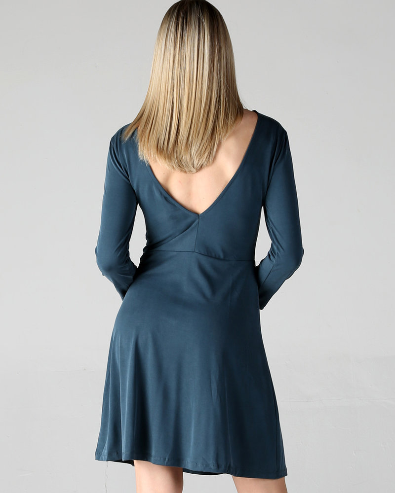 Angie Cupro Skater Dress Long Sleeve and Low V Back (X4W29)