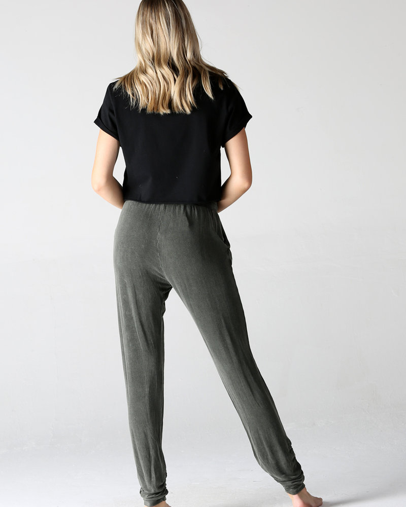 Angie Washed Brushed Rib Knit Joggers With Rouched Ankles (XP893)