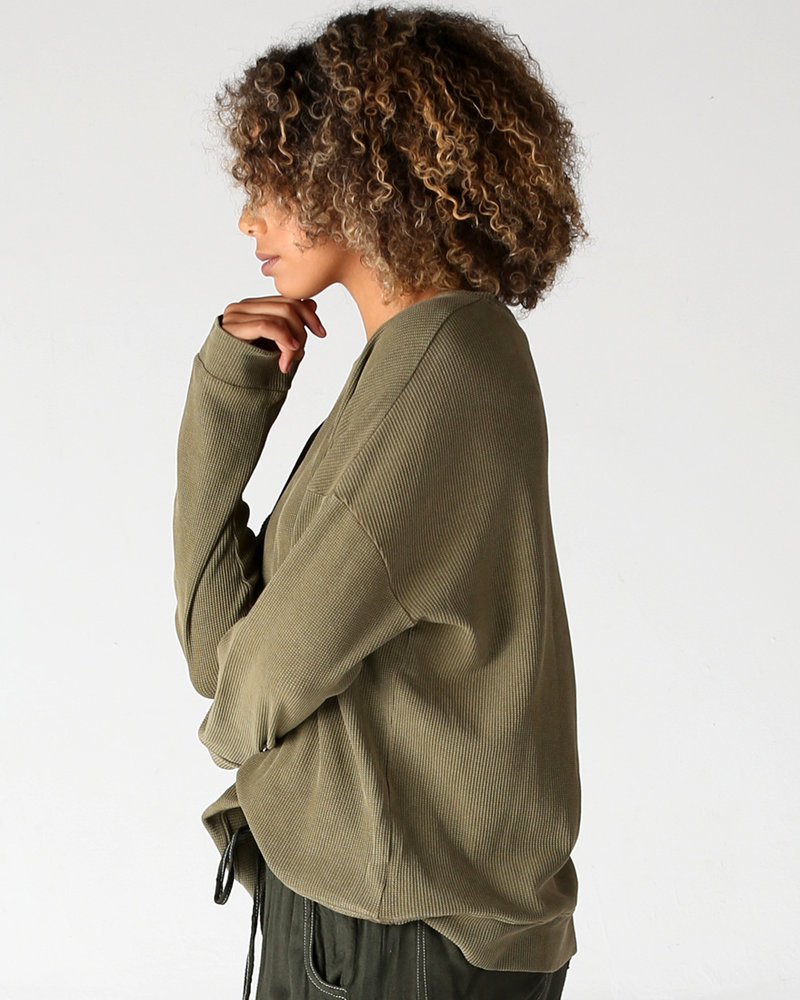Angie Washed Thermal Long Sleeve Top (X2U72)
