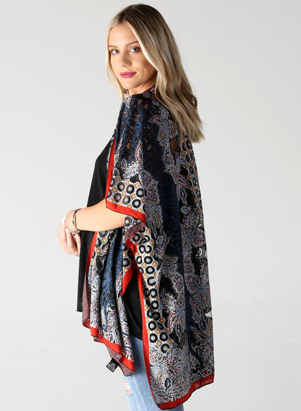 Angie Burnout Kimono With Lurex Threads (X2Y79)