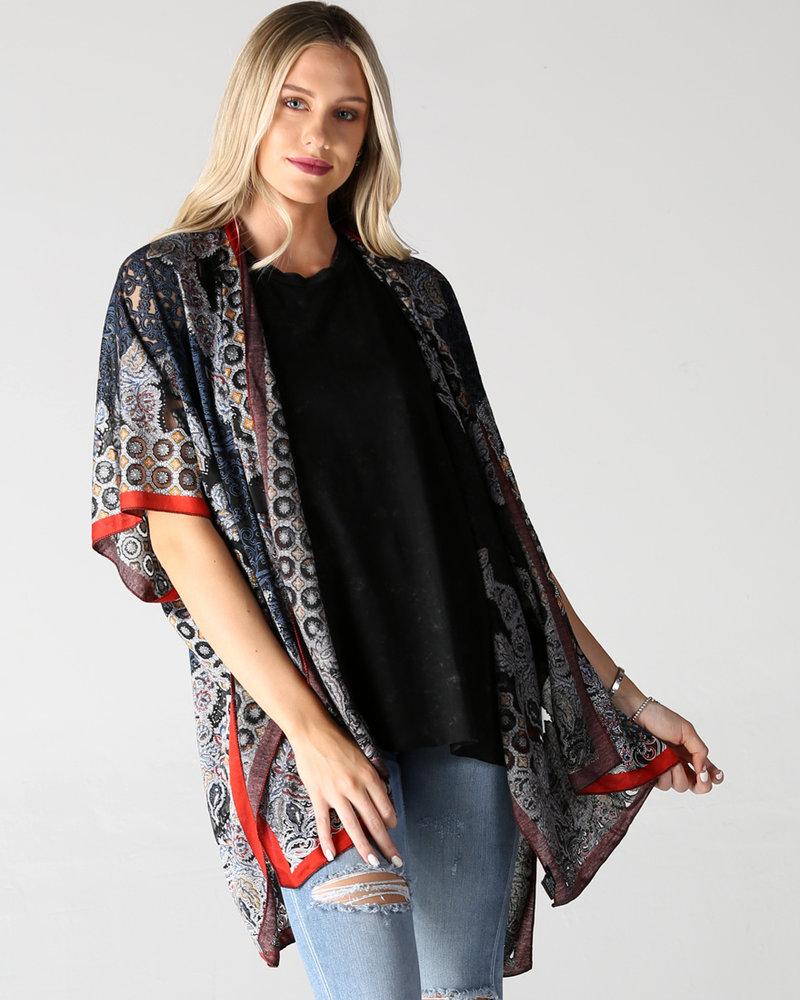 Angie Burnout Kimono With Lurex Threads (X2Y79)