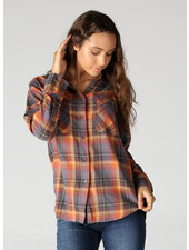 Angie Plaid Button Up Top With Roll Cuffs (X2Z15)