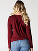 Angie Metal Button Front Long Sleeve Knit Top (X2Z22)