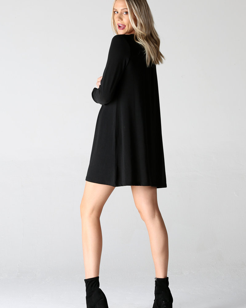 Angie Metal Button Front Long Sleeve Knit Dress (X4W47)