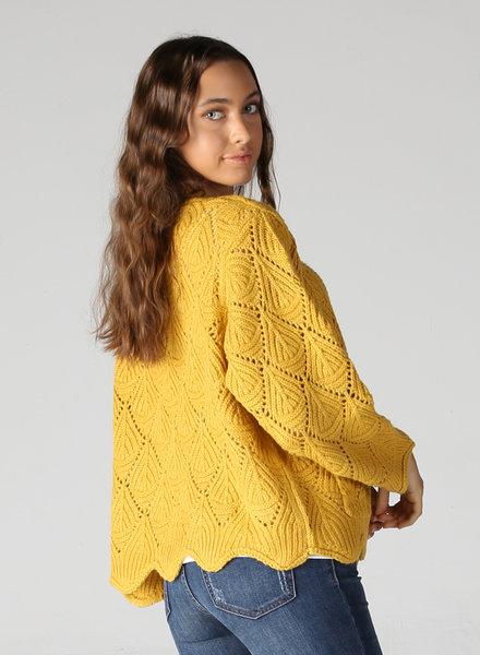 Angie Open Knit Cardi With Wavy Hem (XHF92)