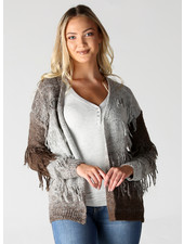Angie Grey-Brown Fringey Open Cardi (XHG07)