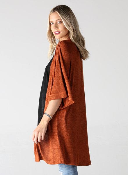 Angie Heathered Kimono Sleeve Cardigan (XHG32)