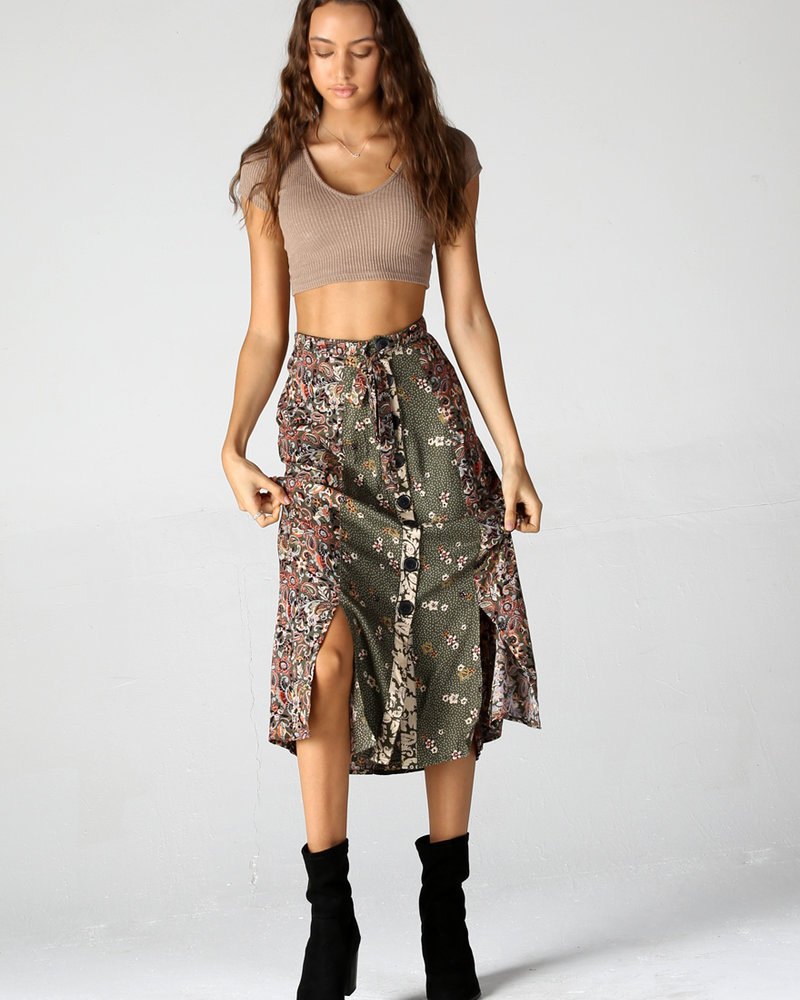 Angie Button Front Midi Skirt (26N76)