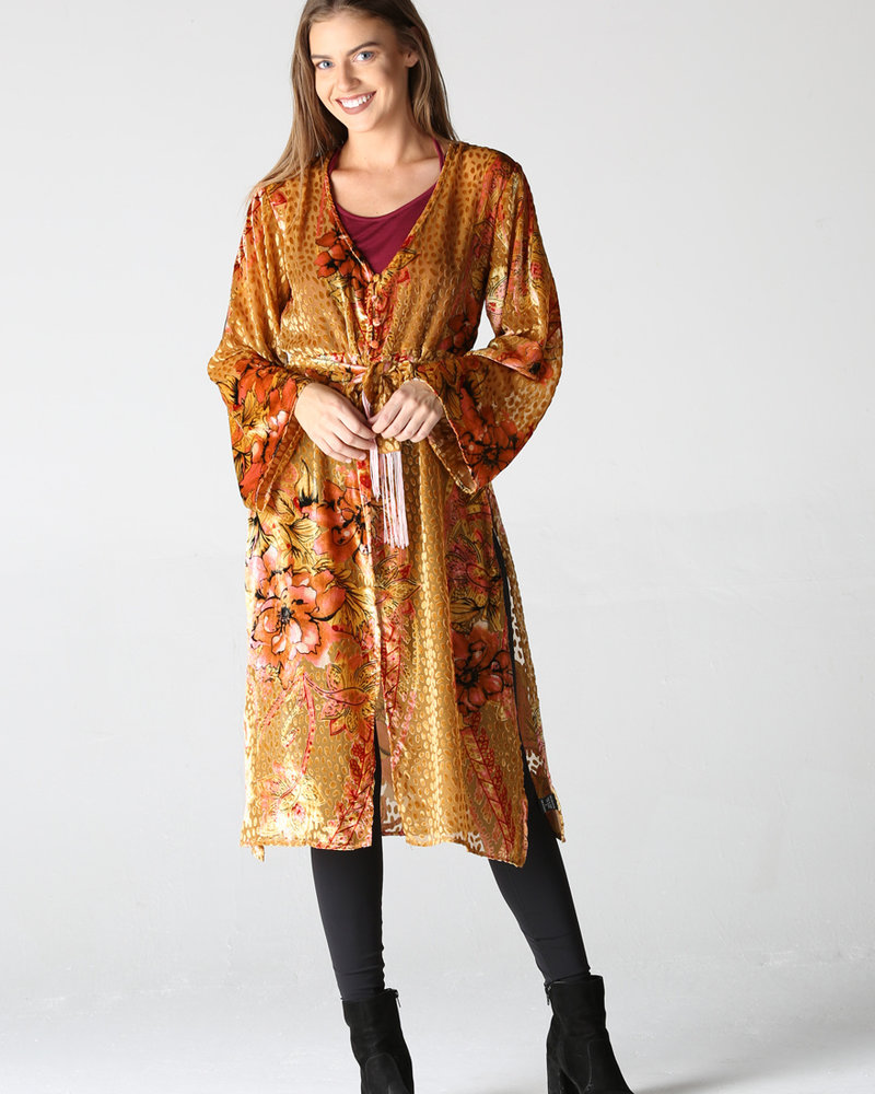 Angie Burnout Velvet Kimono with Slits and Tie (B2W74)