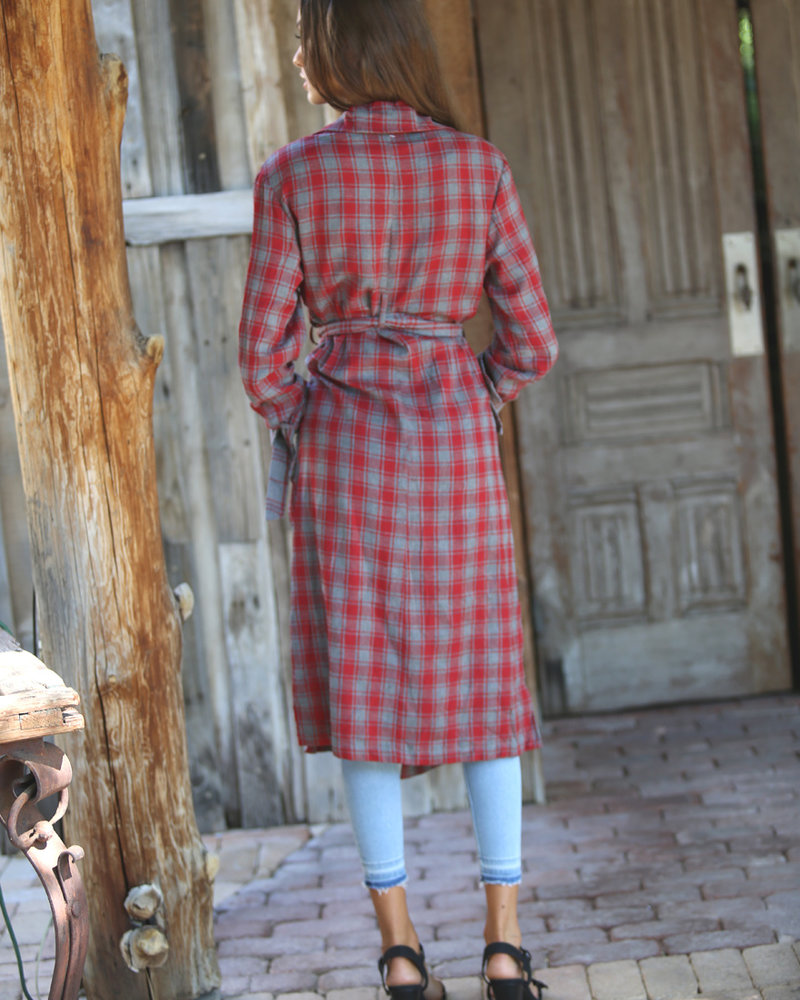 Angie Plaid Trench Coat (BJ578)