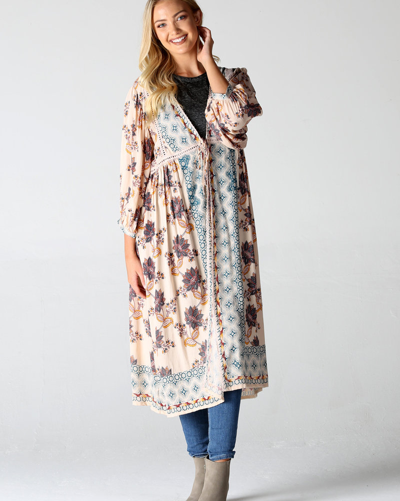 Angie Lace Trim Duster Kimono (BJ656)