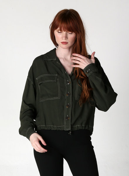 Angie Button Up Front Pocket Jacket (F2313)