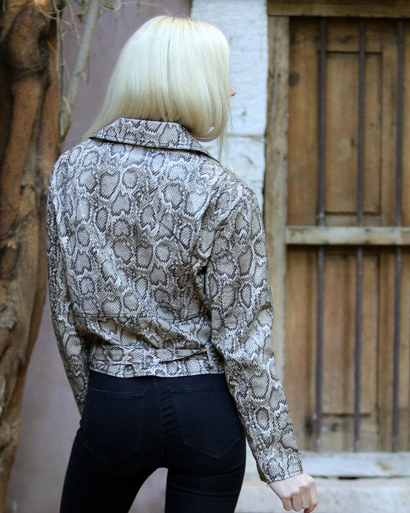 Angie Snake Print Moto Jacket ( SJ939)