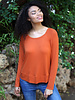 Angie Heather Rib Knit Long Sleeve Slouchy Knit Top (X2N58)