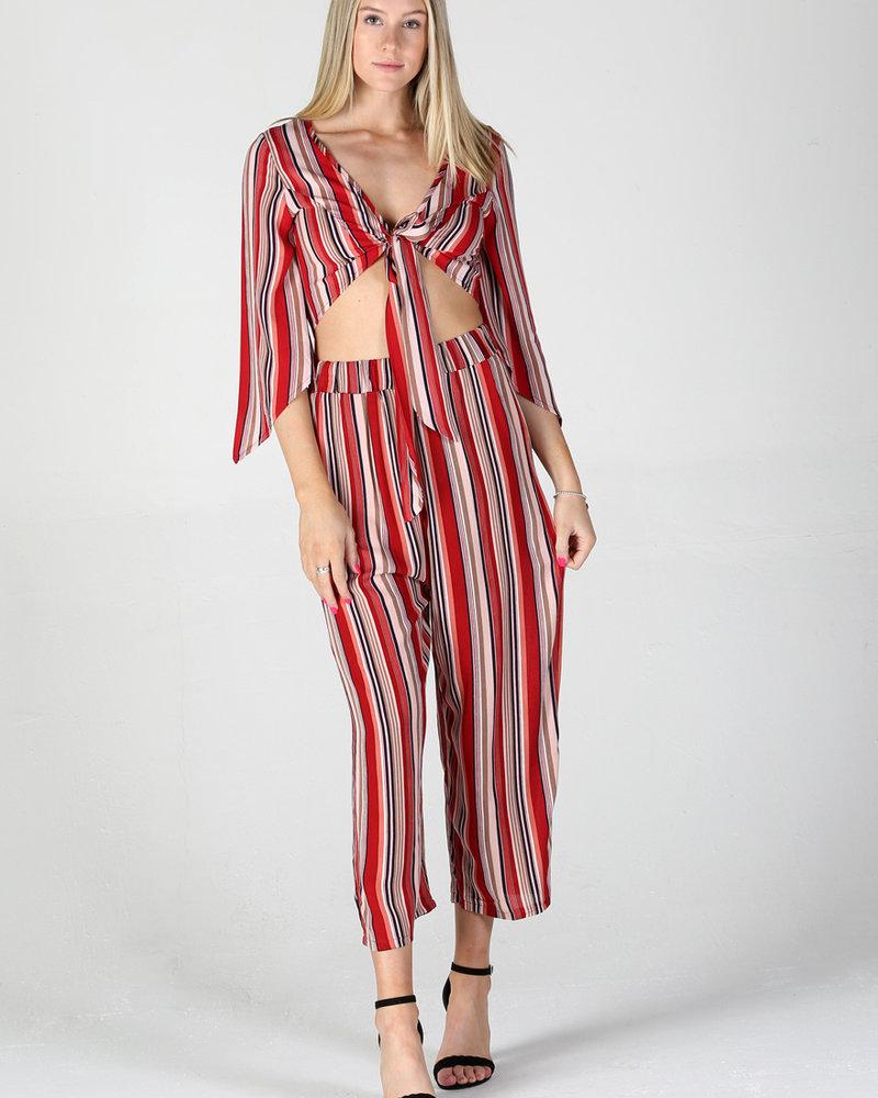 Angie Woven Stripes Wide Leg Pants (XP836)