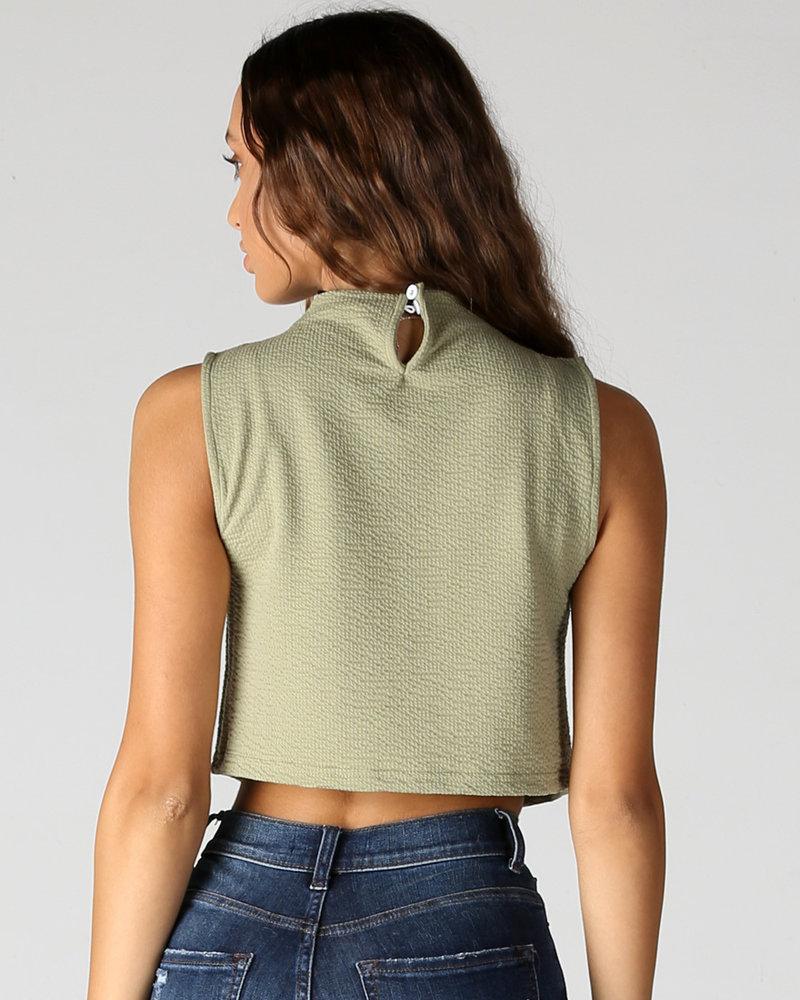 Angie Textured Knit Mock Neck (X2Z95)