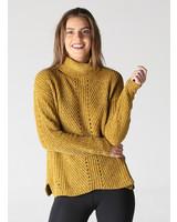 Mustard Chenille Open Knit Pullover Cowl Neck (XHF55)